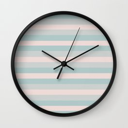 Dusty Teal and Dusty Rose Stripes Wall Clock