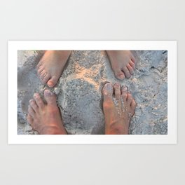 Mommy and child toes in sand Art Print
