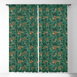 Foxes Playing in the Emerald Forest Blackout Curtain