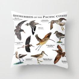 Shorebirds of the Pacific Coast Throw Pillow