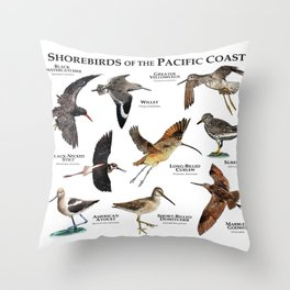 Shorebirds of the Pacific Coast Throw Pillow