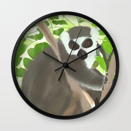Ring-tailed Lemur in Jungle Wall Clock