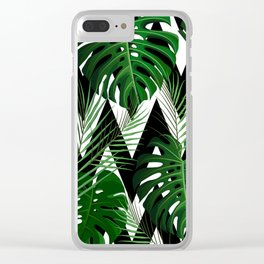 Geometrical green black white tropical monster leaves Clear iPhone Case
