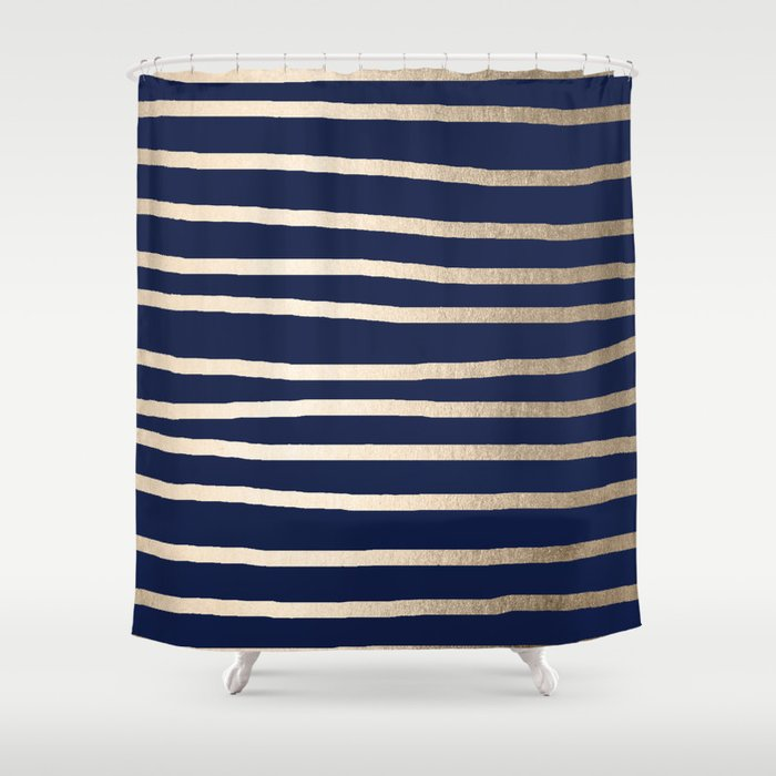 Drawn Stripes White Gold Sands on Nautical Navy Blue Shower Curtain ...