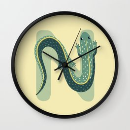N for Newt Wall Clock