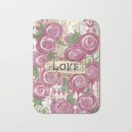 Shabby Roses Love Bath Mat