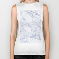 white marble Biker Tanks featuring White Marble by SueM