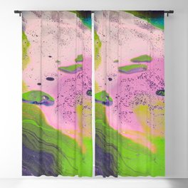 Fluid Art Acrylic Painting, Pour 14, Purple, Green, Pink & Blue Blended Colors Blackout Curtain