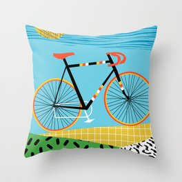 Roadie - peugeot px10, bicycle art print, cycling art, gifts for cyclists, memphis art print Throw Pillow