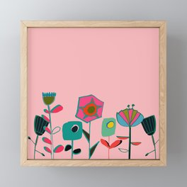 Mid century flowers pink Framed Mini Art Print