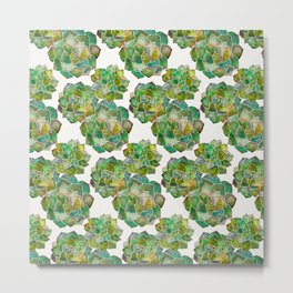 Rosette Succulents – Green Palette Metal Print
