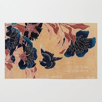 japanese Area & Throw Rugs featuring japanese flowers by PureVintageLove