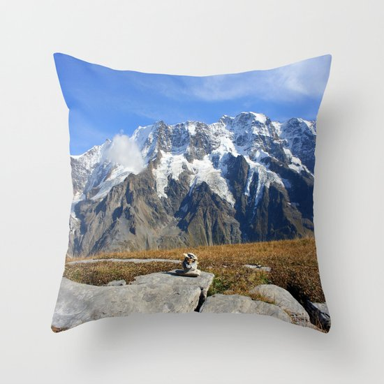 Trail Blazing the Alps Throw Pillow