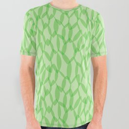 Overlapping Leaves - Light Green All Over Graphic Tee