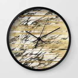 Chic Gold Brushstrokes on Black White Marble Wall Clock