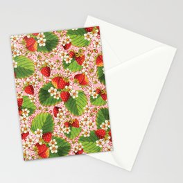 Pink Paisley Strawberries Stationery Cards