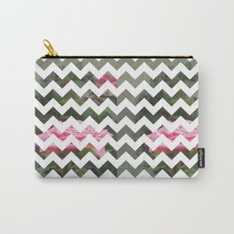 Pink Roses in Anzures 5  Chevron 3T Carry-All Pouch