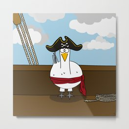 Eglantine la Poule (the hen) diguised as a pirate captain Metal Print