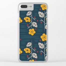 Mid Century Modern  Vintage Floral Clear iPhone Case