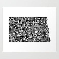 Typographic North Dakota Art Print