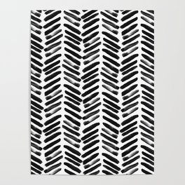 Simple black and white handrawn chevron - horizontal Poster