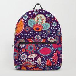 Colorful khokhloma flowers pattern Backpack