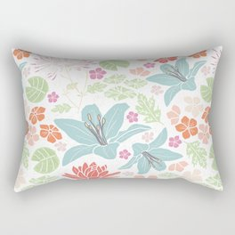 Teal blue and orange Japanese pond florals Rectangular Pillow