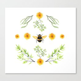 Bees in the Garden v.3 - Watercolor Graphic Canvas Print