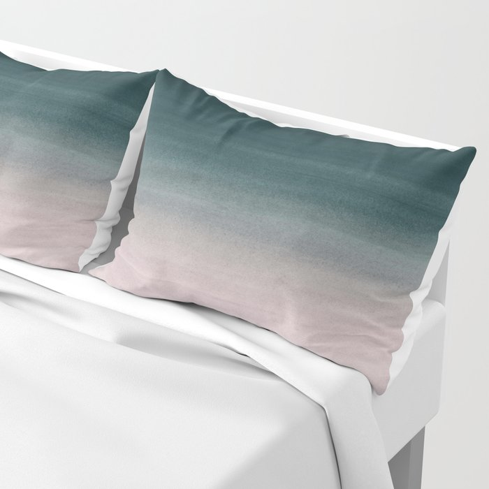 Touching Teal Blush Watercolor Abstract #1 #painting #decor #art #society6 Pillow Sham
