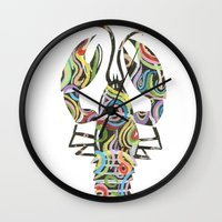 lobster Wall Clocks featuring Lobster by Kate Allison
