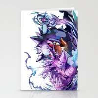 gengar Stationery Cards featuring Nidorino vs Gengar by Sa-Dui