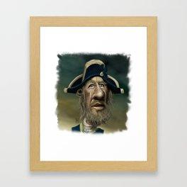 Barbossa Caricature Cartoon (Geoffrey Rush) Framed Art Print