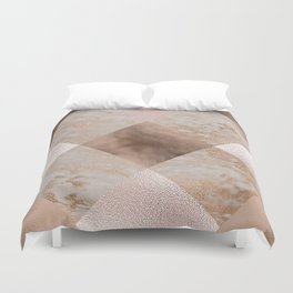 Copper and Blush Rose Gold Marble Gingham Duvet Cover