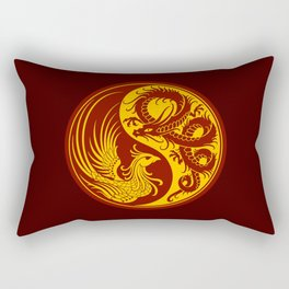 Yellow and Red Dragon Phoenix Yin Yang Rectangular Pillow