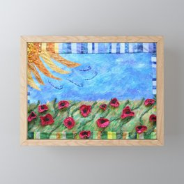Field of Poppies Quilted Painting Framed Mini Art Print