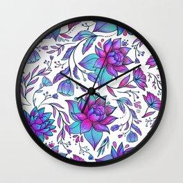 Unicorn Flowers Pattern Wall Clock