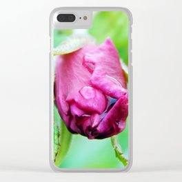 Rolled-up Wet Rose Clear iPhone Case