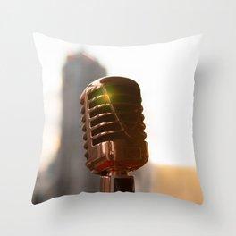 Retro microphone on stage Throw Pillow