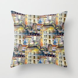 Gamla Stan Old City Stockholm Sweden Architectural Watercolor Landscape Throw Pillow