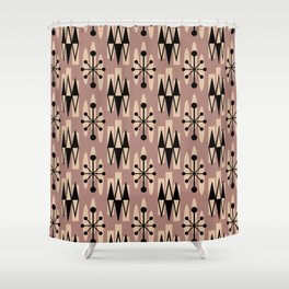 Retro Mid Century Modern Atomic Triangles 731 Beige and Black Shower Curtain