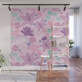 Purple Japanese pond florals Wall Mural
