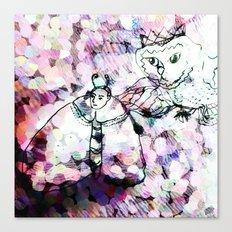 moth man and cat owl Canvas Print