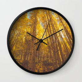 Autumn trees and yellow leaves Wall Clock