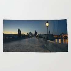 Charles Bridge at Blue Hour Beach Towel
