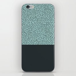 Dark navy dots on turquoise iPhone Skin