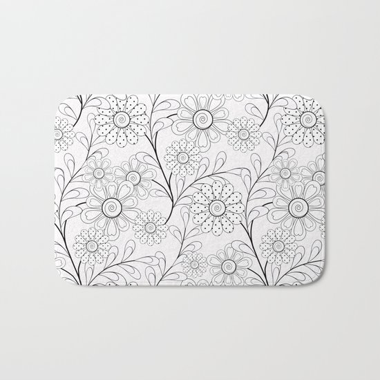 .Floral pattern on a white background. Bath Mat