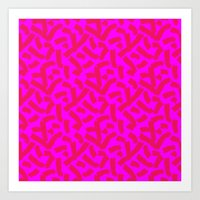 Hot Pink Cheese Doodles /// www.pencilmeinstationery.com Art Print
