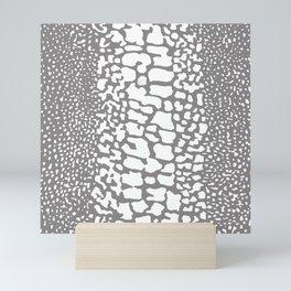 ANIMAL PRINT SNAKE SKIN GRAY AND WHITE PATTERN Mini Art Print