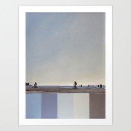 Two cyclists on the beach. Blue gray sea, sun, sky. Art Print
