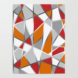 Geometric Shapes in Red, Orange and Gray Poster